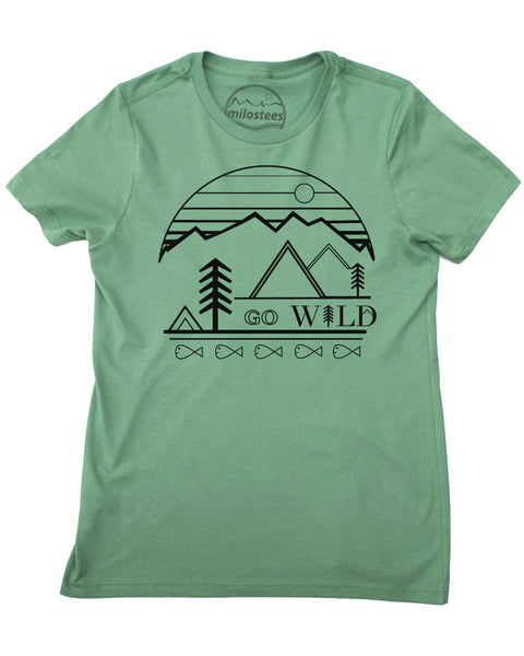 Go Wild graphic screen print on a pine/green colored tee in a loose fit style, organic cotton.