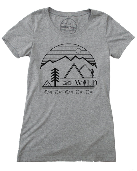 Go Wild graphic screen print on gray colored tee in a form fitting style, 50/25/25 blend.