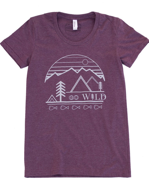 Go Wild graphic screen print on a plum colored tee in a form fitting style, 50/50 blend.