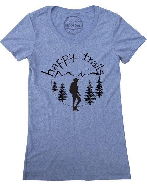 Happy Trails Screen Print of a Woman Hiking on Soft Blue Shirt in a Cotton, Polyester, Rayon Blend.