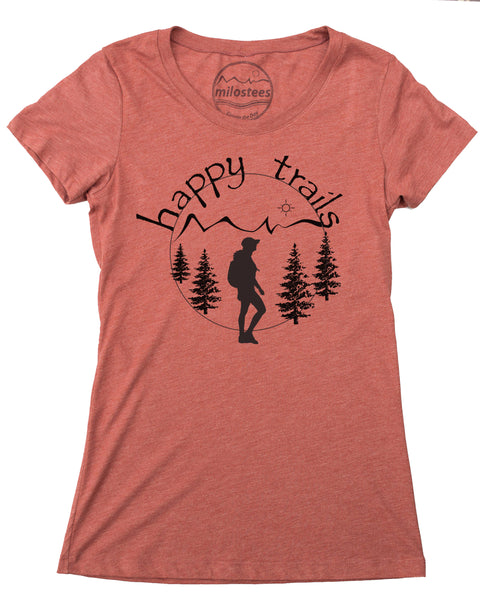 Happy Trails Screen Print of a Woman Hiking on Soft Clay Colored Shirt in a Cotton, Polyester, Rayon Blend.