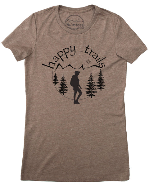 Happy Trails Screen Print of a Woman Hiking on Soft Brown Colored Shirt in a Cotton, Polyester, Rayon Blend.