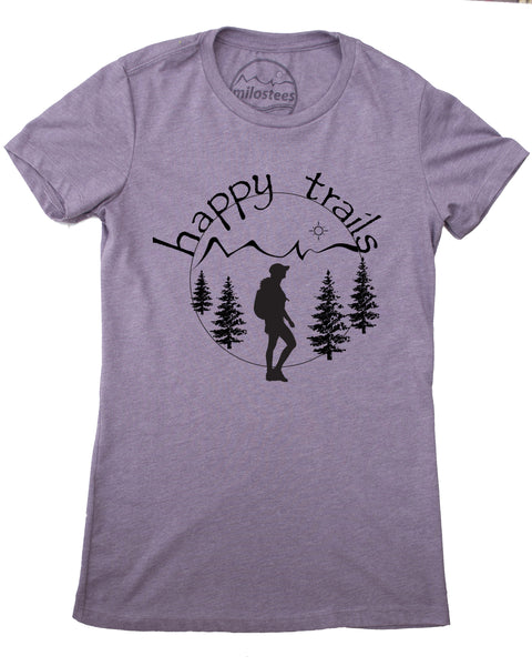 Happy Trails Screen Print of a Woman Hiking on Soft Light Purple Colored Shirt in a Cotton, Polyester, Rayon Blend.