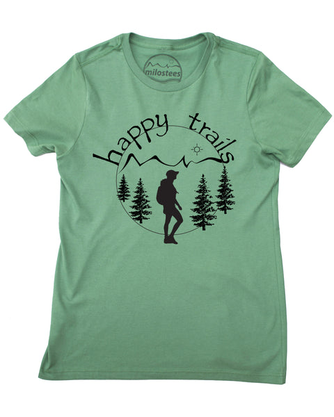 Happy Trails Screen Print of a Woman Hiking on Pine Colored Shirt in a 100% Cotton, Blend.