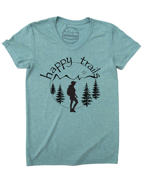 Happy Trails Screen Print of a Woman Hiking on Soft Light Green Colored Shirt in a Cotton, Polyester, Rayon Blend.