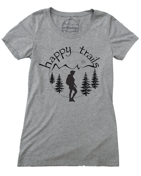 Happy Trails Screen Print of a Woman Hiking on Soft Grey Colored Shirt in a Cotton, Polyester, Rayon Blend.
