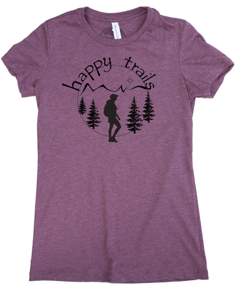 Happy Trails Screen Print of a Woman Hiking on Soft Plum Colored Shirt in a Cotton, Polyester, Rayon Blend.