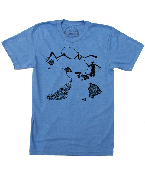Hawaii Home Shirt | Original Fly Fishing Illustration | Hand Screen Print on Soft 50/50 Tee's | Elevate the Day!