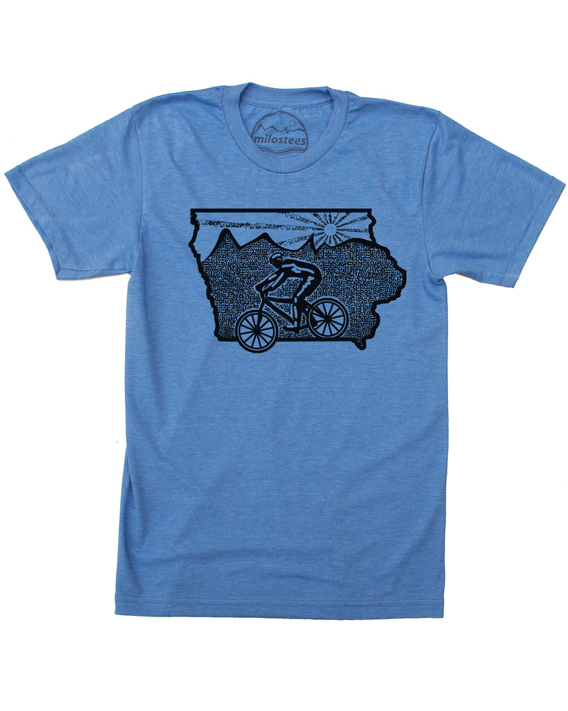 Iowa Shirt with Mountain Bike Print on Soft 50/50 Threads.
