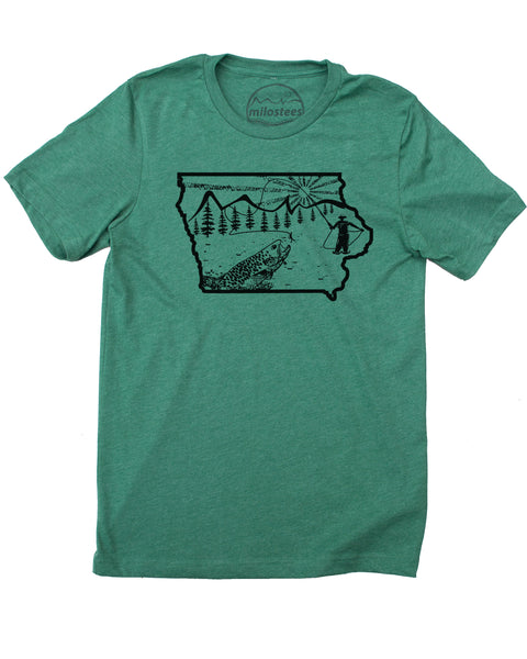 Iowa Home Shirt | Original Fly Fishing Illustration | Hand Screen Print on Soft Threads | Elevate the Day!