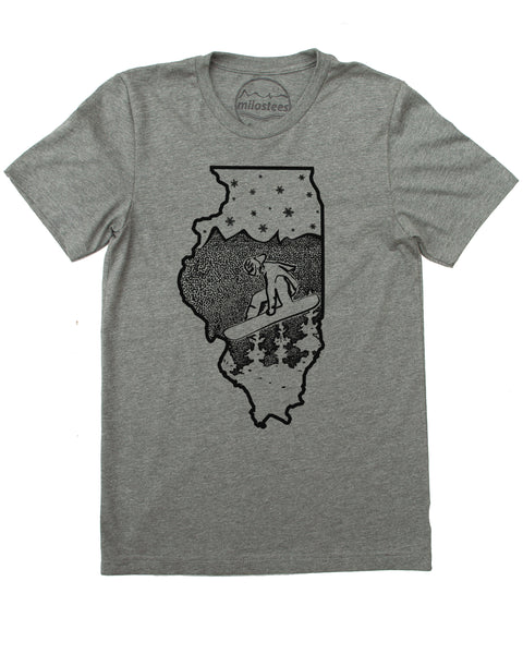 Illinois State Shirt | Graphic Snowboard Illustration on Soft Wears | Hand Screen Printed | Elevate the Day!