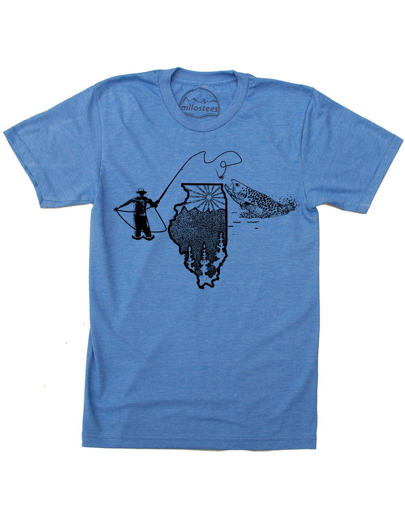 Blue Illinois fly fishing graphic, hand screen printed, original design of a fly fisherman casting a line over a sun lit Illinois for a magical fish strike! Soft cotton, polyester blend
