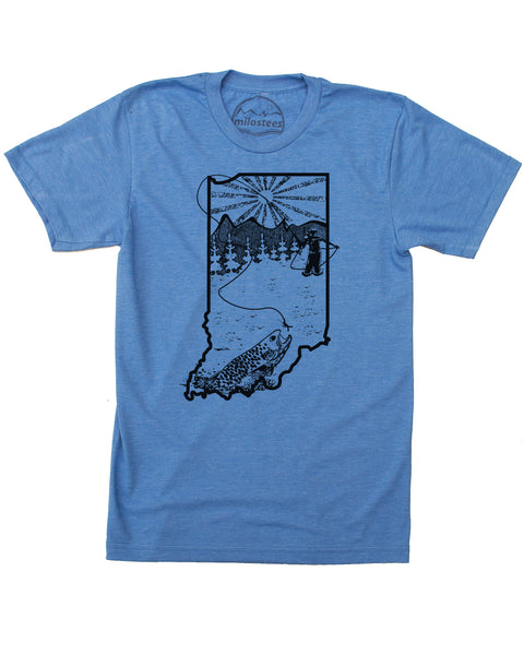 Indiana Home Shirt | Original Fly Fishing Graphic | Hand Screen Print on Soft 50/50 Tee's | Elevate the Day
