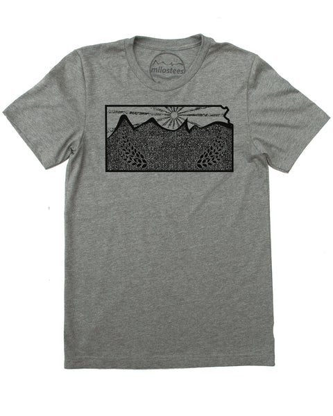 Kansas Home Shirt | Rolling Hills and Stalks of Wheat Design | Hand Printed on Soft 50/50 Tee's | Elevate the Day!
