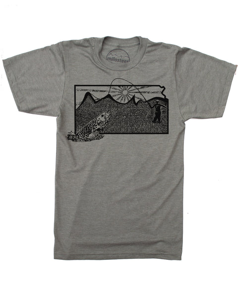 Kansas Home Shirt | Original Fly Fishing Graphic | Hand Screen Print on Soft 50/50 Tees | Elevate the Day!