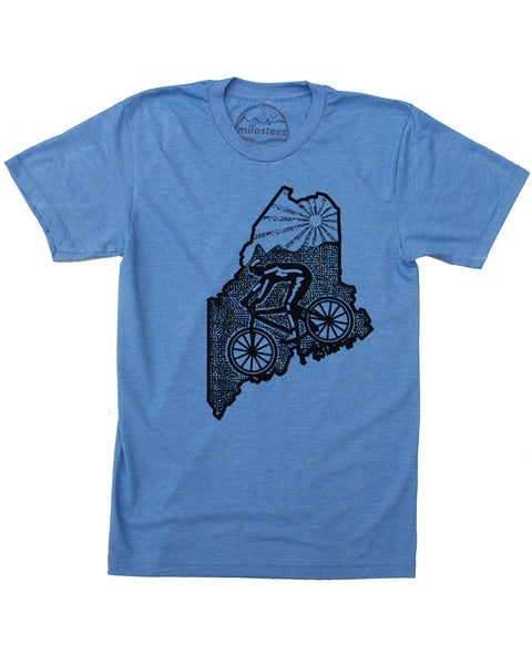 Maine Home Shirt With Mountain Bike Style- Screen Printed on Soft 50/50 Tee's.