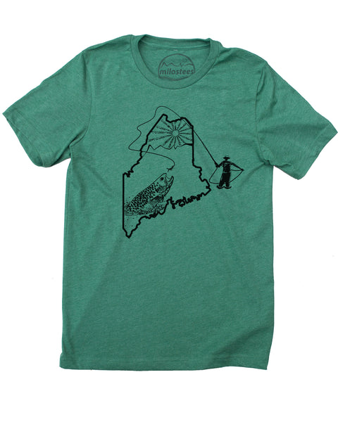 Maine Home Shirt | Original Fly Fishing Print | Soft 50/50 Threads | Elevate the Day!