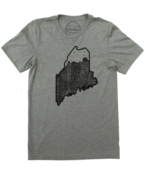 Maine Home Shirt | Moon & Stars Graphic | Hand Print on Soft 50/50 Threads | Elevate the Day