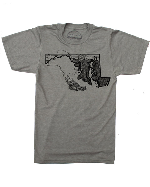 Maryland Home Shirt | Original Fly Fishing Graphic | Hand Screen Print on Soft 50/50 Threads | Elevate the Day!
