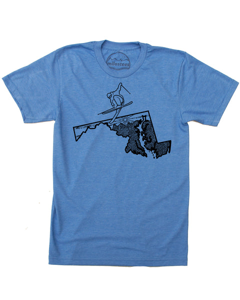 Ski Maryland T-shirt | Graphic Skiing Illustration on Soft 50/50 Wears | Ski Wisp Elevate the Day!