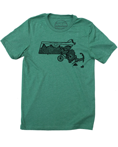 Massachusetts Home Shirt | Original Mountain Bike Graphic | Soft 50/50 Tee's | Elevate the Day!