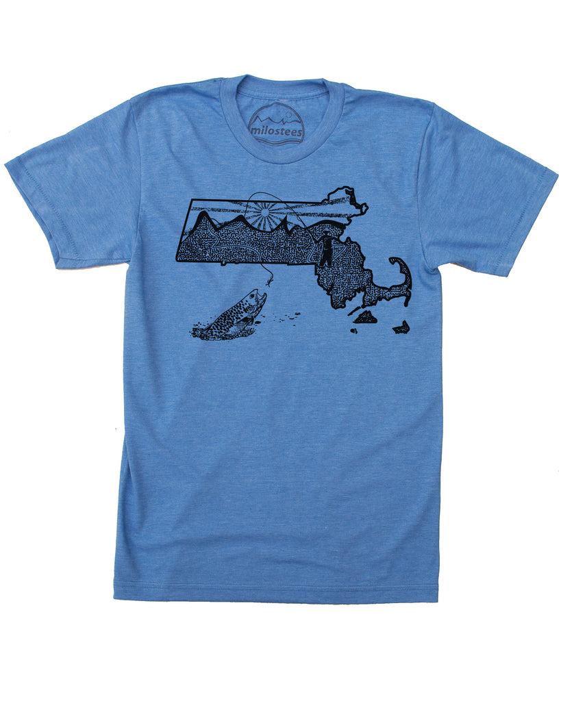 Massachusetts Home Shirt | Original Fly Fishing Graphic | Hand Screen Printed on Soft 50/50 Threads | Elevate the Day!