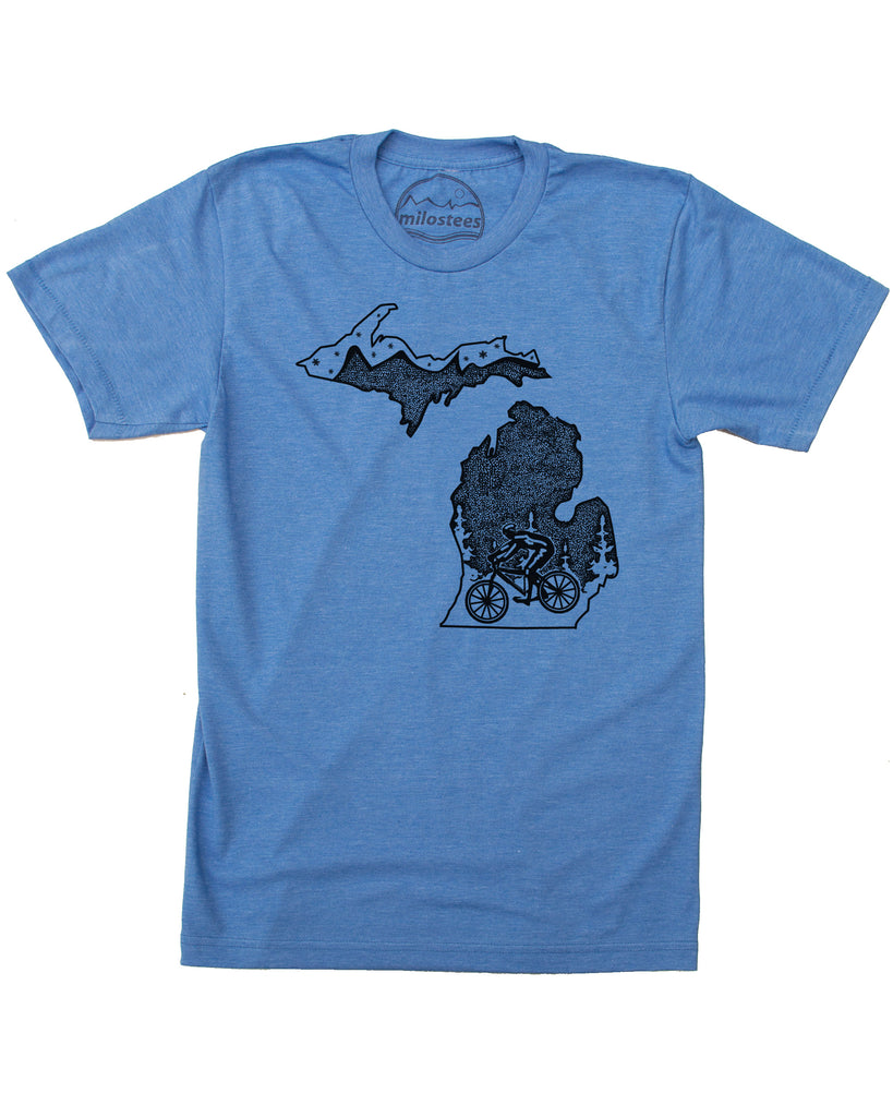 Michigan Shirt with Mountain Bike Style - Soft 50/50 T's - Elevate the Day!