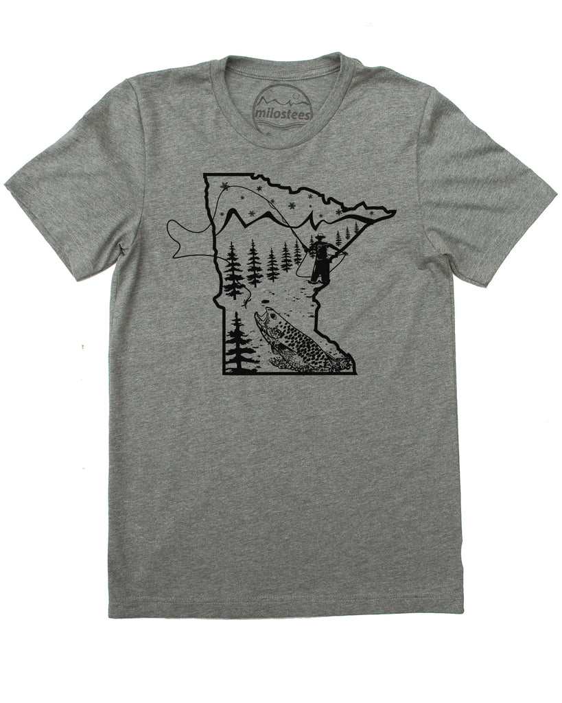 Minnesota T shirt with fly fishing style- Cast a Line in the North Star State and elevate your day in a soft 50/50 blend of fabrics.