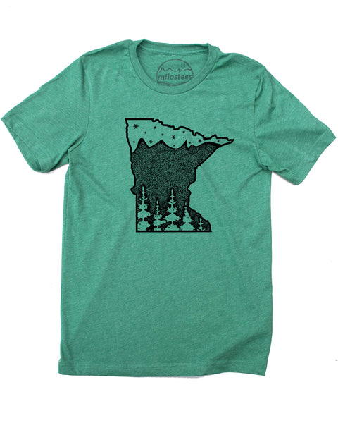 Minnesota Shirt, Home is 10,000 Lakes with Great Fishing and Cross Country Skiing- Screen Print on Soft 50/50 Tee's