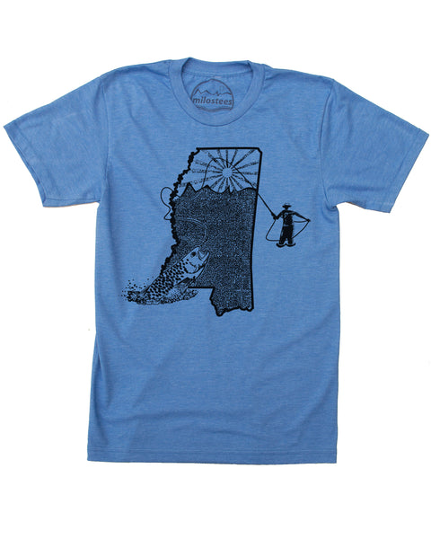 Mississippi Shirt | Fly Fishing Illustration | Hand Screen Print on Soft 50/50 Tees | Elevate the Day!