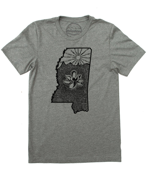Mississippi Home Shirt | Magnolia Design with Setting Sun | Hand Screen Print on Soft 50/50 Tee's | Elevate the Day!