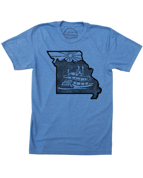 Missouri Home Shirt with Riverboat Print on Soft Cotton, Polyester Threads!