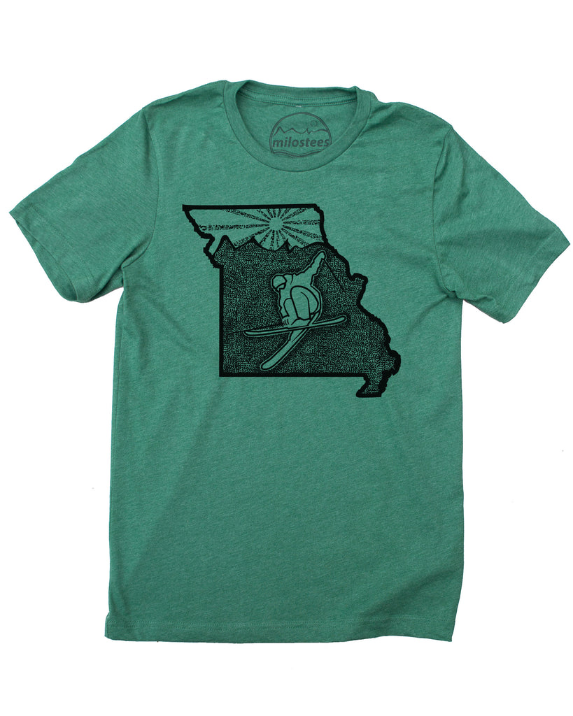 Ski Missouri Shirt | Skiing Illustration on Soft 50/50 Wears | Ski Hidden Valley Elevate the Day
