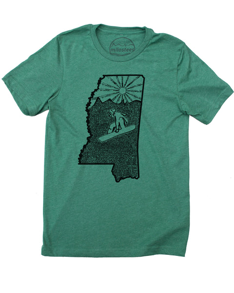 Mens Mississippi Home Shirt | Original Snowboarding Graphic on Soft 50/50 Wears | Ride Jackson Elevate the Day!