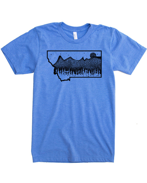 Montana Mountains T-shirt, Hand Screen Print on Soft Threads to Help You Elevate your Day!