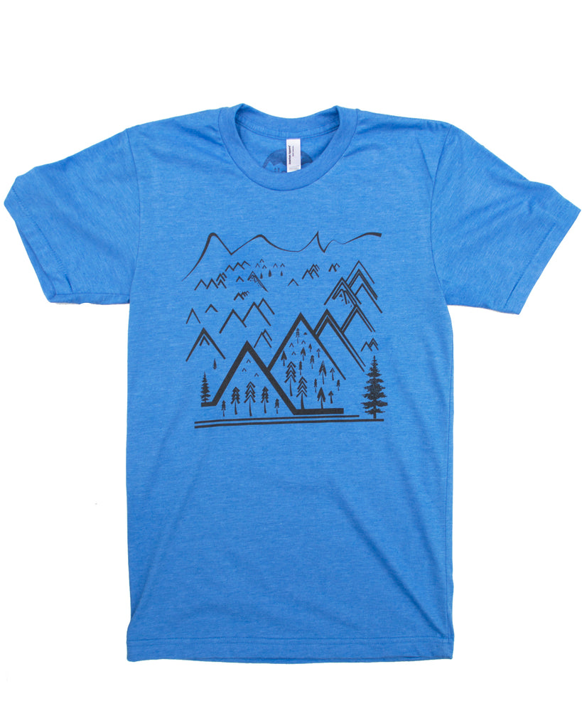Simple Line Art Mountain T-shirt, Men's Wholesale
