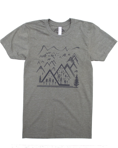 Army Green Tee, Simple Mountain Design Using Line