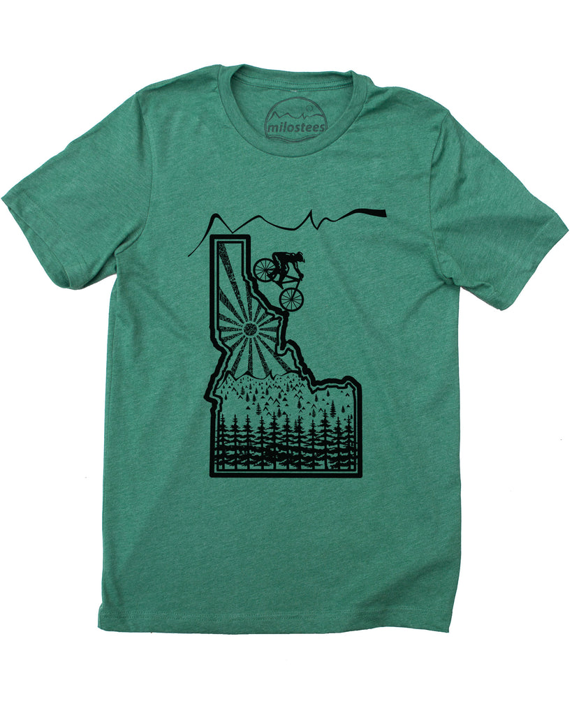 Mountain Bike Idaho Tee- Graphic image of a biker descending the state of Idaho!