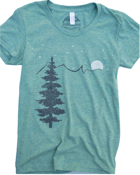 Mountain & Stars silk screen print on American Apparel blend color tri-lemon