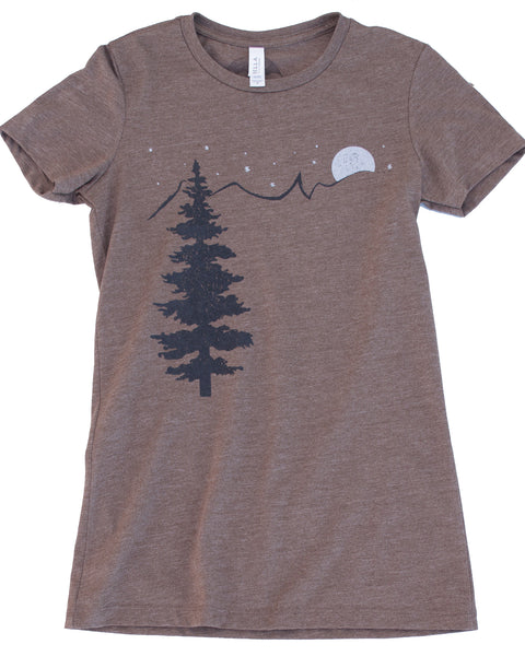 Mountain & Stars print on Bella + Canvas Tee color coffee, Form fitting style