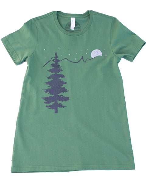 Mountain & Stars silk screen print on American Apparel organic tee color organic pine