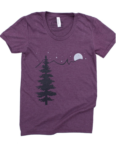 Mountain & Stars silk screen print on American Apparel blend color plum
