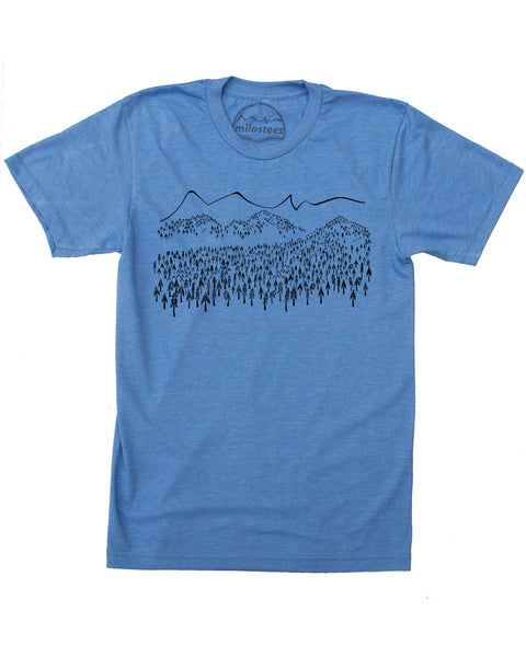 Mountain Trees T-shirt, soft 50/50 wears for outdoor adventures or casual days