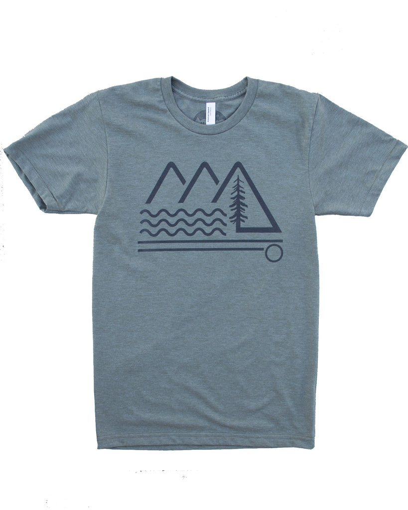 Mountain Wave T-shirt, Silk Screen on Soft Wears in a 50/50 Blend