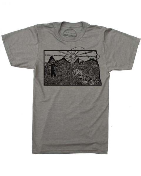 North Dakota Home Shirt | Original Fly Fishing Graphic | Soft 50/50 Threads | Elevate the Day!