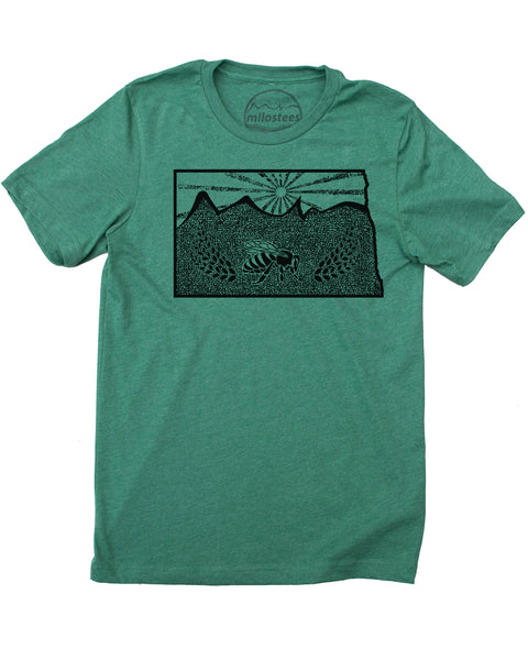 North Dakota Shirt | Original Graphic | Buzzy Bee and Wheat Print | Soft 50/50 Tee | Elevate the Day!