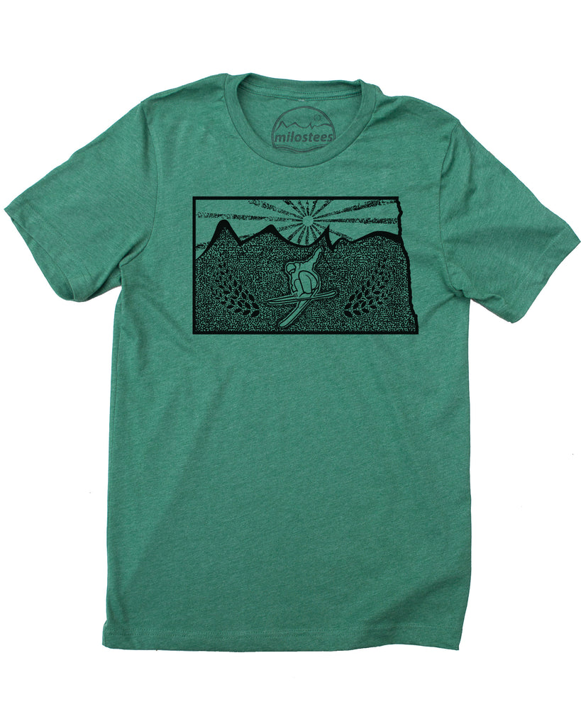 Ski North Dakota Shirt | Original Skiing illustration | Hand Print on Soft 50/50 Wears | Elevate the Day