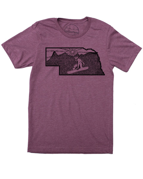 Nebraska Snowboard Shirt | Original Home Graphic | Hand Print on Soft 50/50 T's | Free Shipping in USA