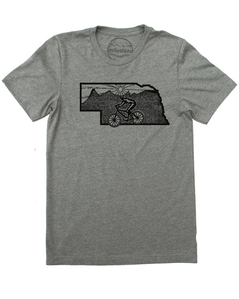 Nebraska Home Shirt with Mountain Bike Flair! Print on Soft 50/50 Treads