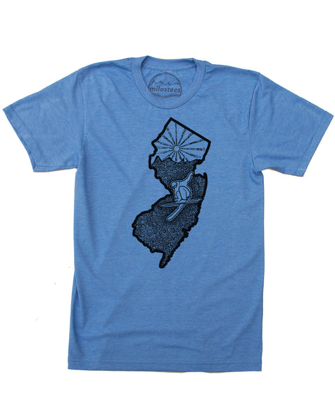Ski New Jersey T-shirt | Skiing Illustration on Soft 50/50 Wears | Ski Mountain Creek Elevate the Day!